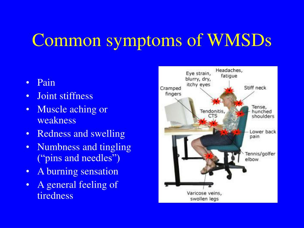 Common symptoms of WMSDs