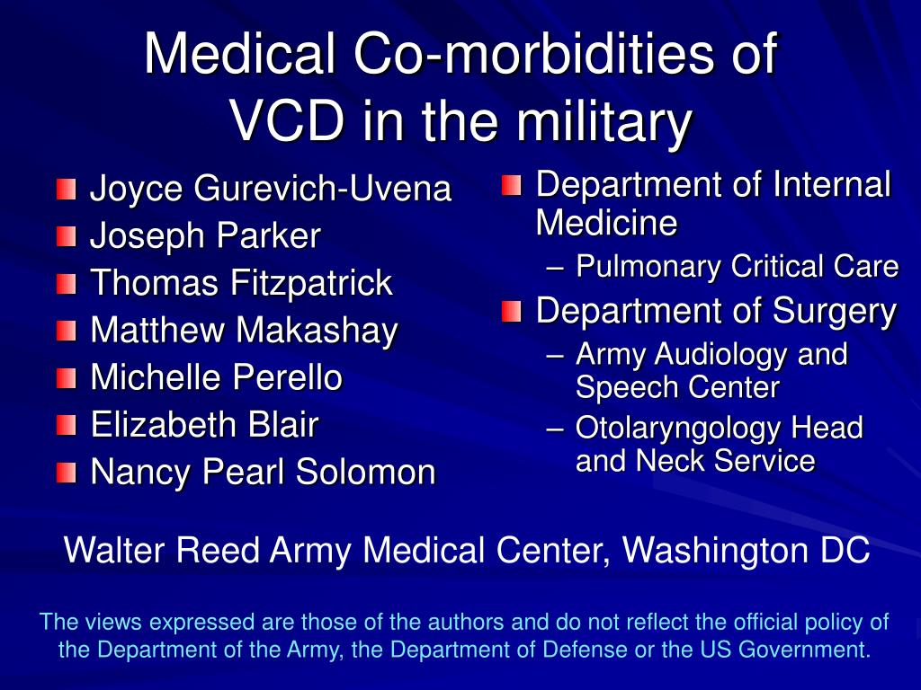 medical co morbidities of vcd in the military