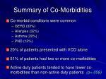 summary of co morbidities