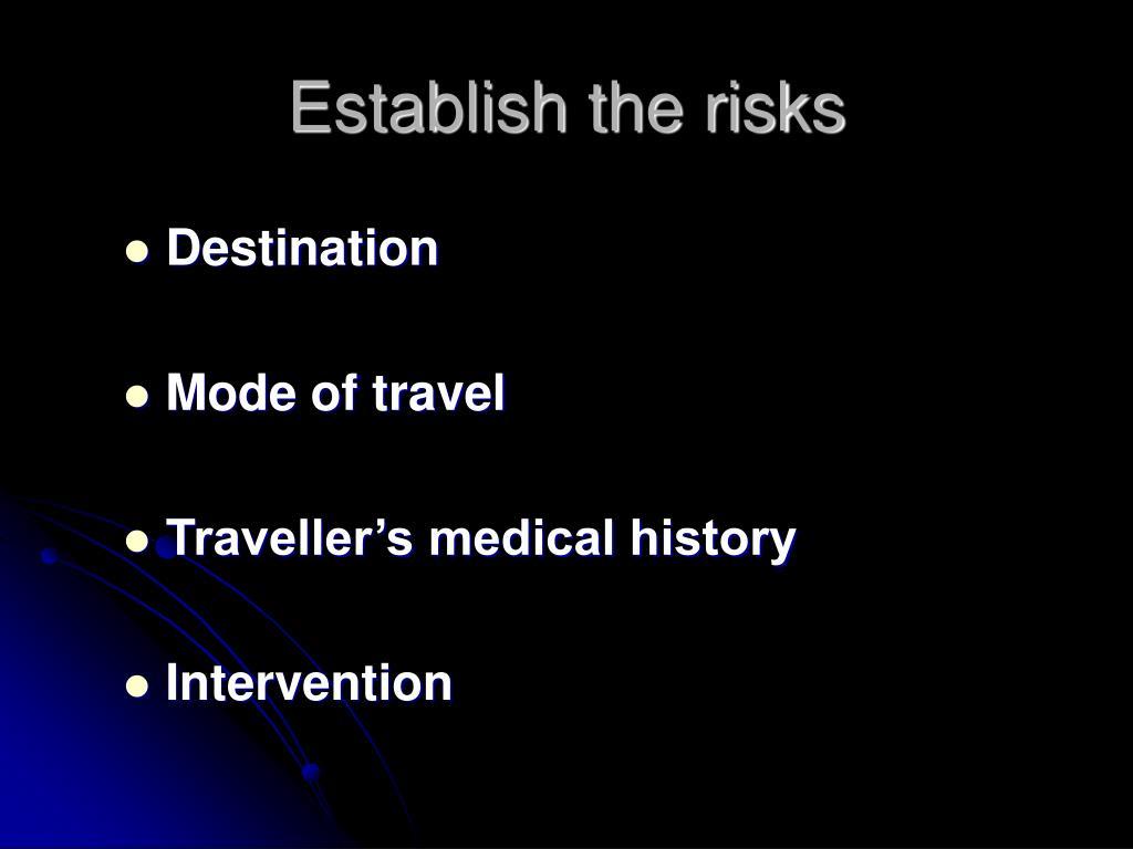 Establish the risks