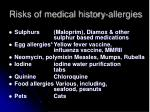 risks of medical history allergies