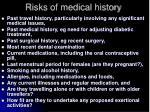risks of medical history
