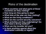 risks of the destination14
