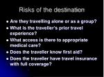 risks of the destination17