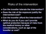 risks of the intervention