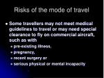risks of the mode of travel21