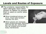 levels and routes of exposure16