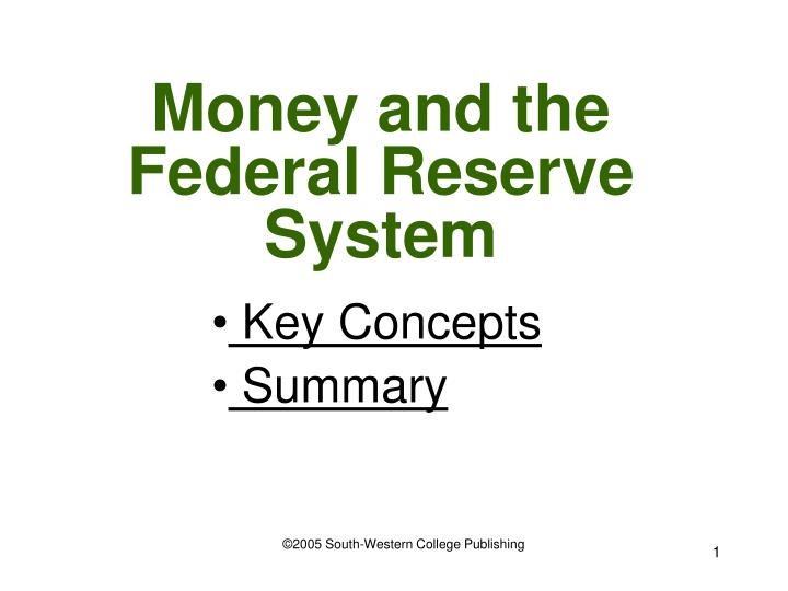 money and the federal reserve system n.