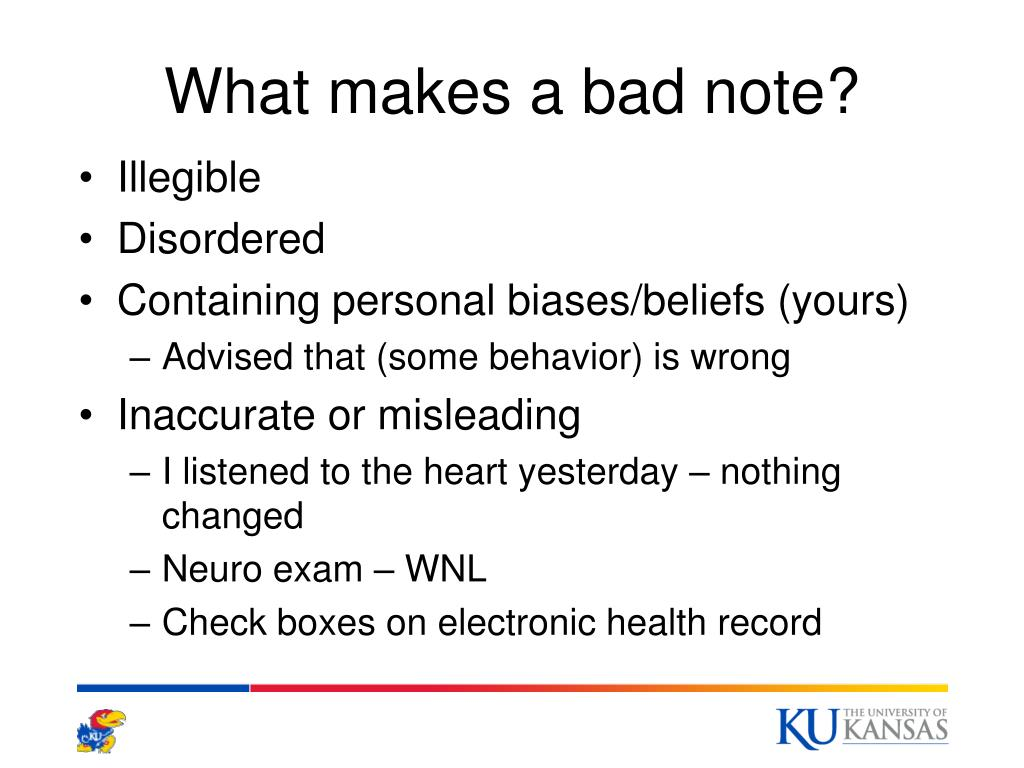 What makes a bad note?