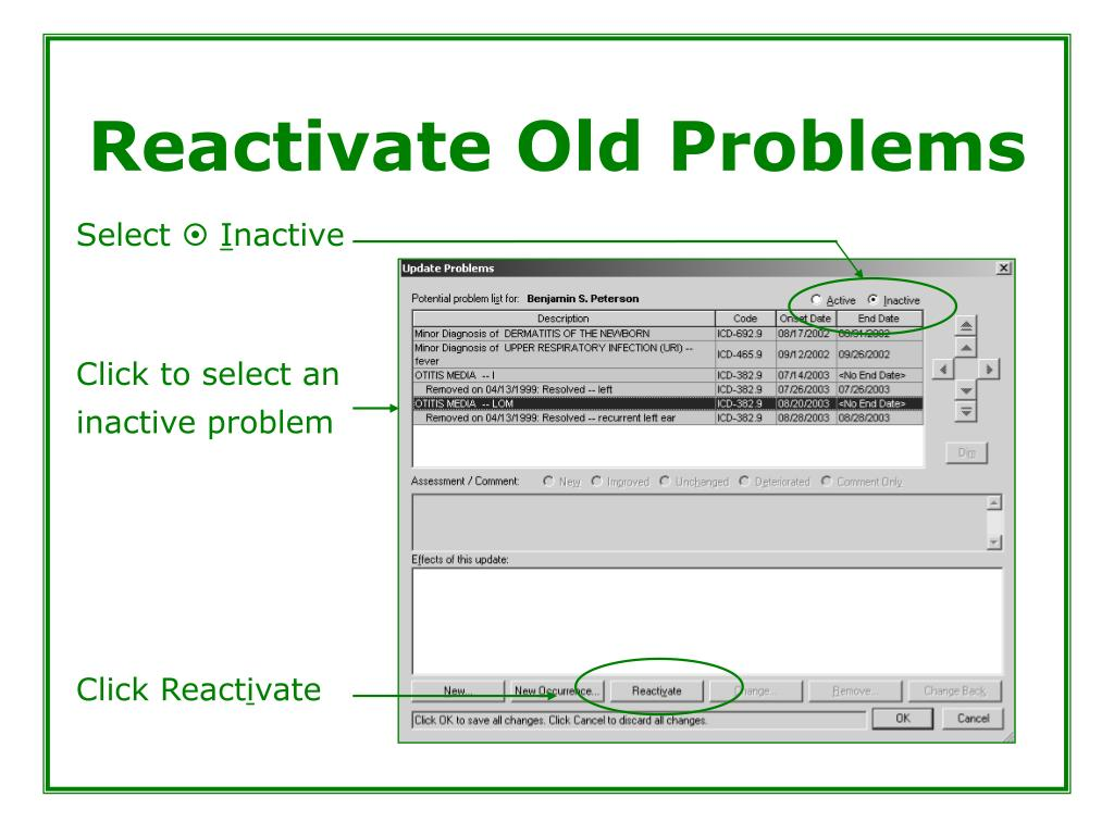 Reactivate Old Problems