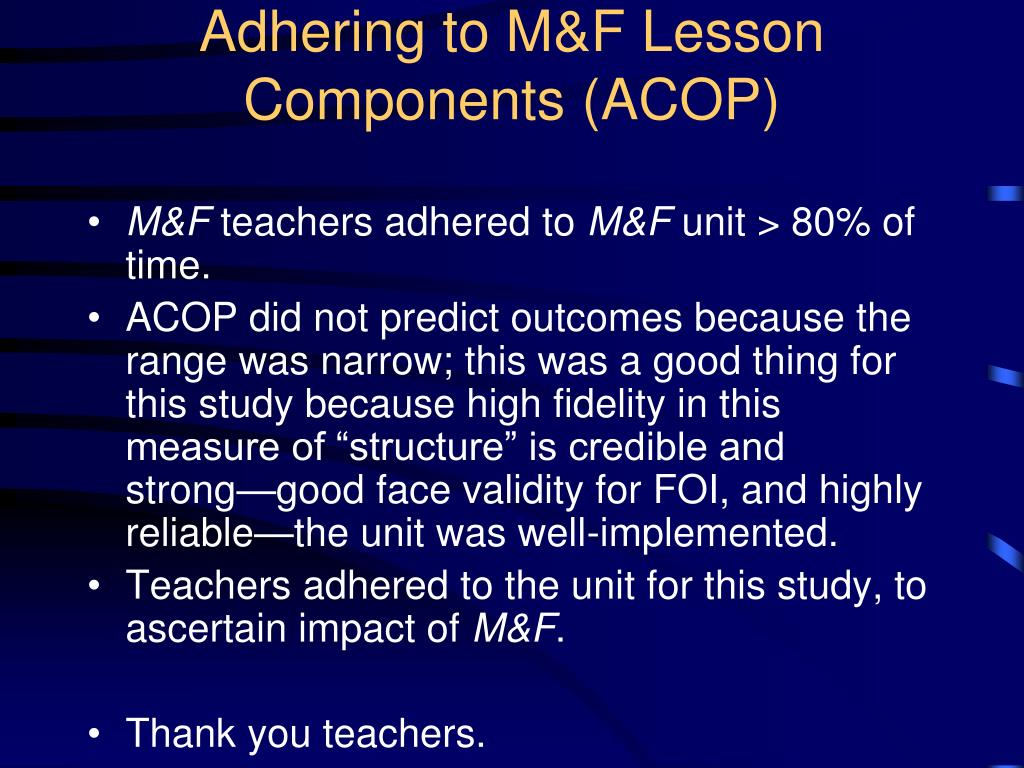 Adhering to M&F Lesson Components (ACOP)