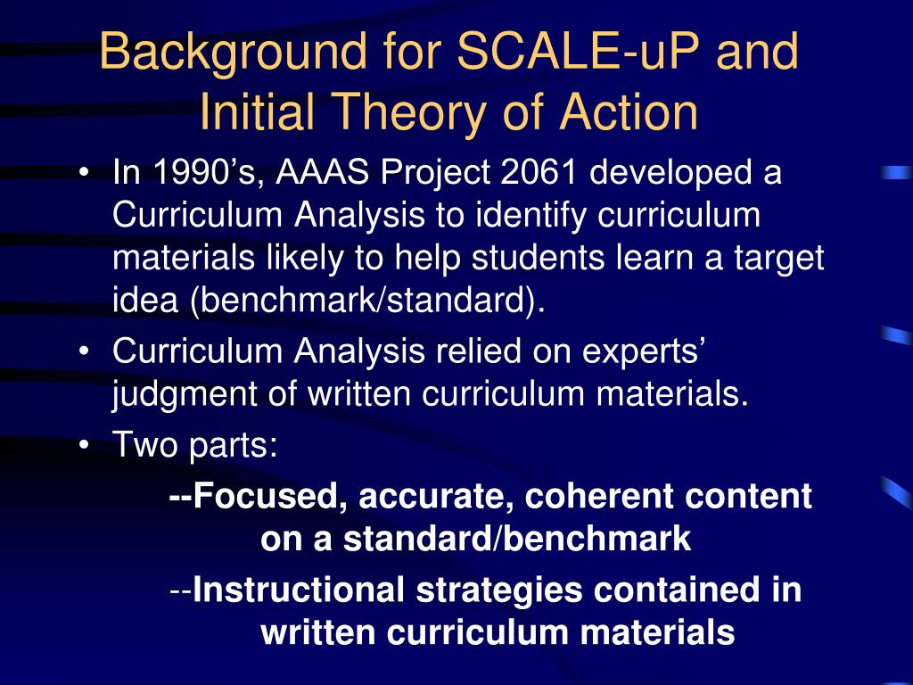 Background for SCALE-uP and Initial Theory of Action