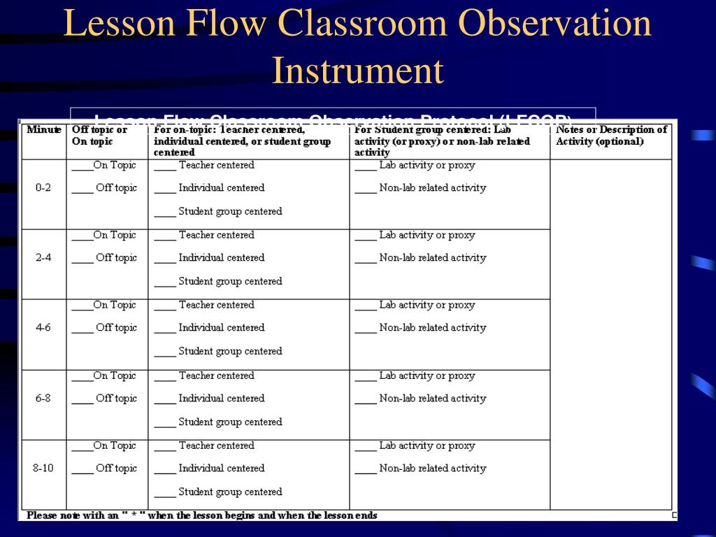 Lesson Flow Classroom Observation Instrument