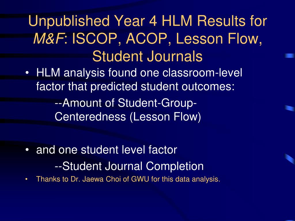 Unpublished Year 4 HLM Results for