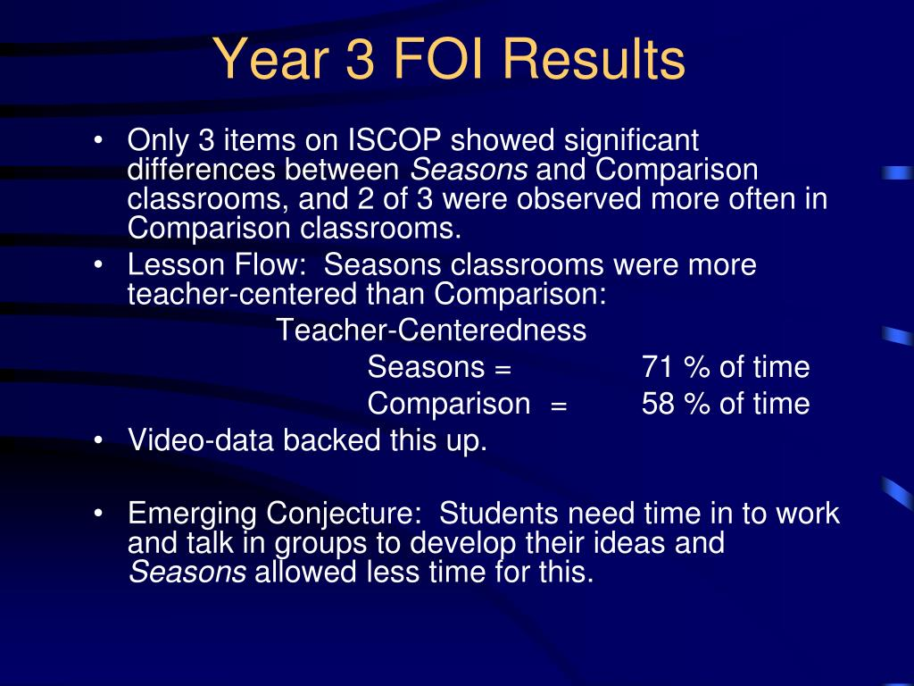 Year 3 FOI Results