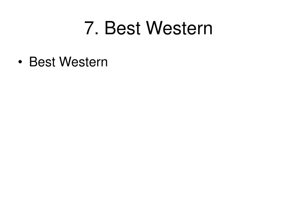 7. Best Western