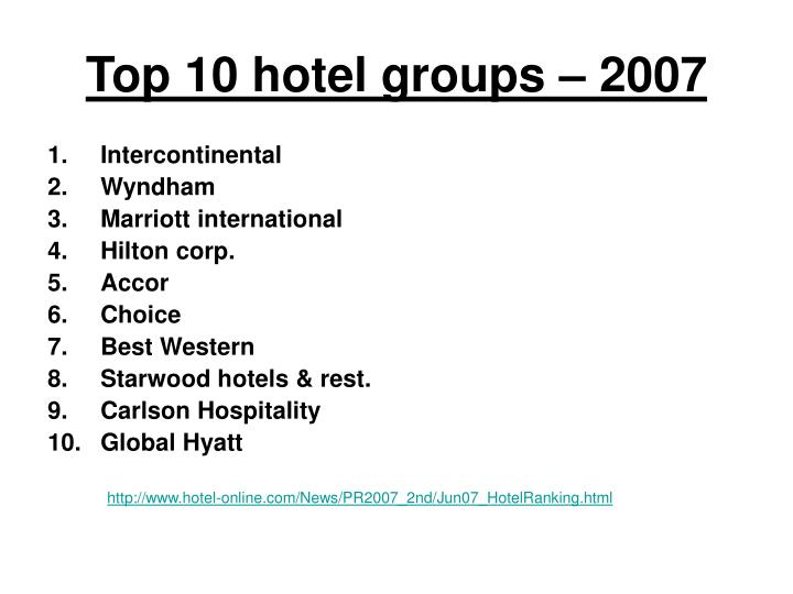 top 10 hotel groups 2007 n.
