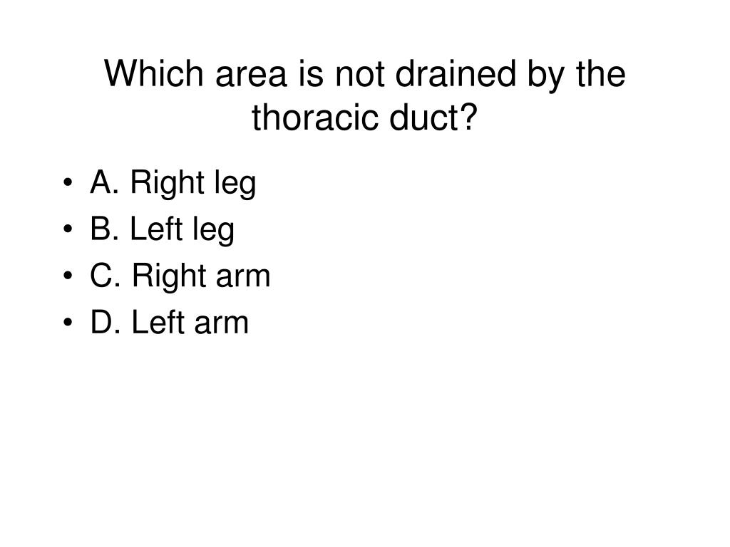 Which area is not drained by the thoracic duct?