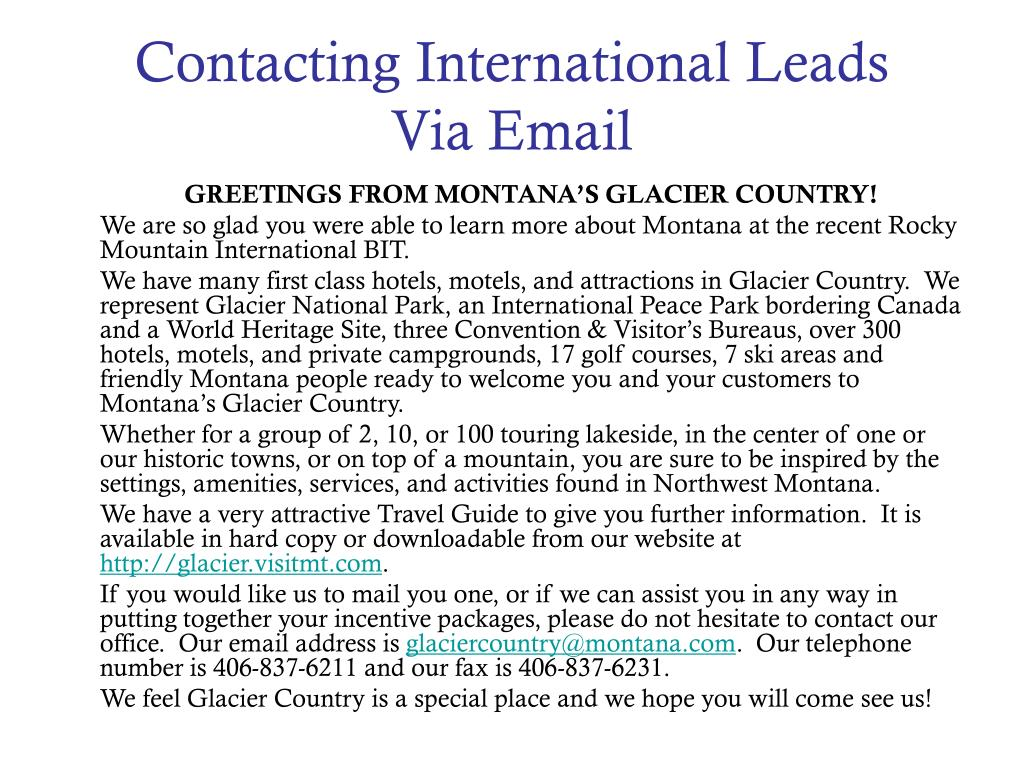 Contacting International Leads