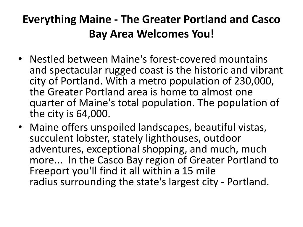Everything Maine - The Greater Portland and Casco Bay Area Welcomes You!