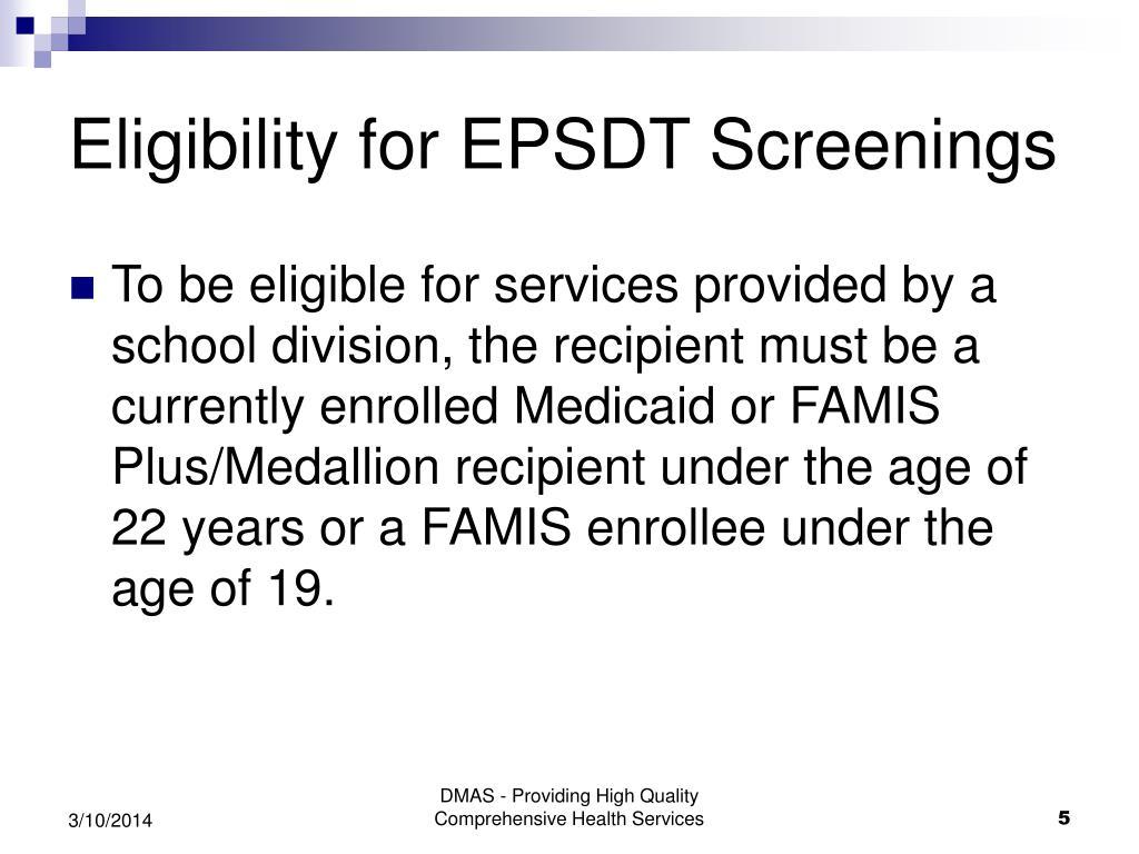 Eligibility for EPSDT Screenings
