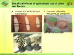 beneficial effects of agricultural use of urine and faeces