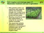 fao irrigation and drainage paper 47 wastewater treatment and use in agriculture26