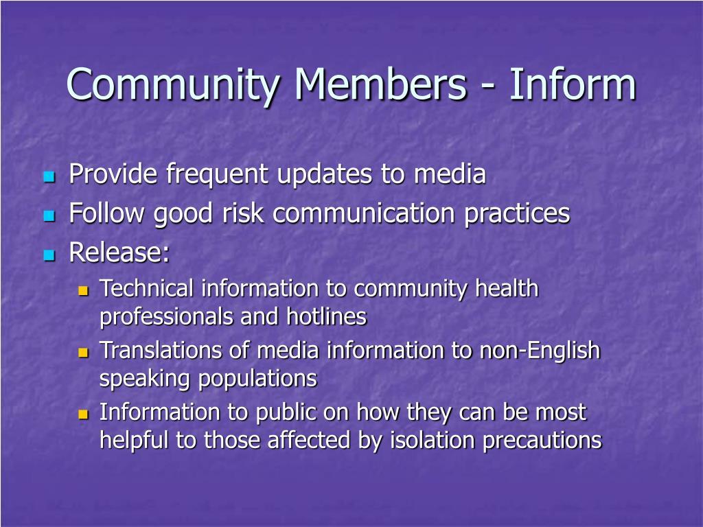 Community Members - Inform