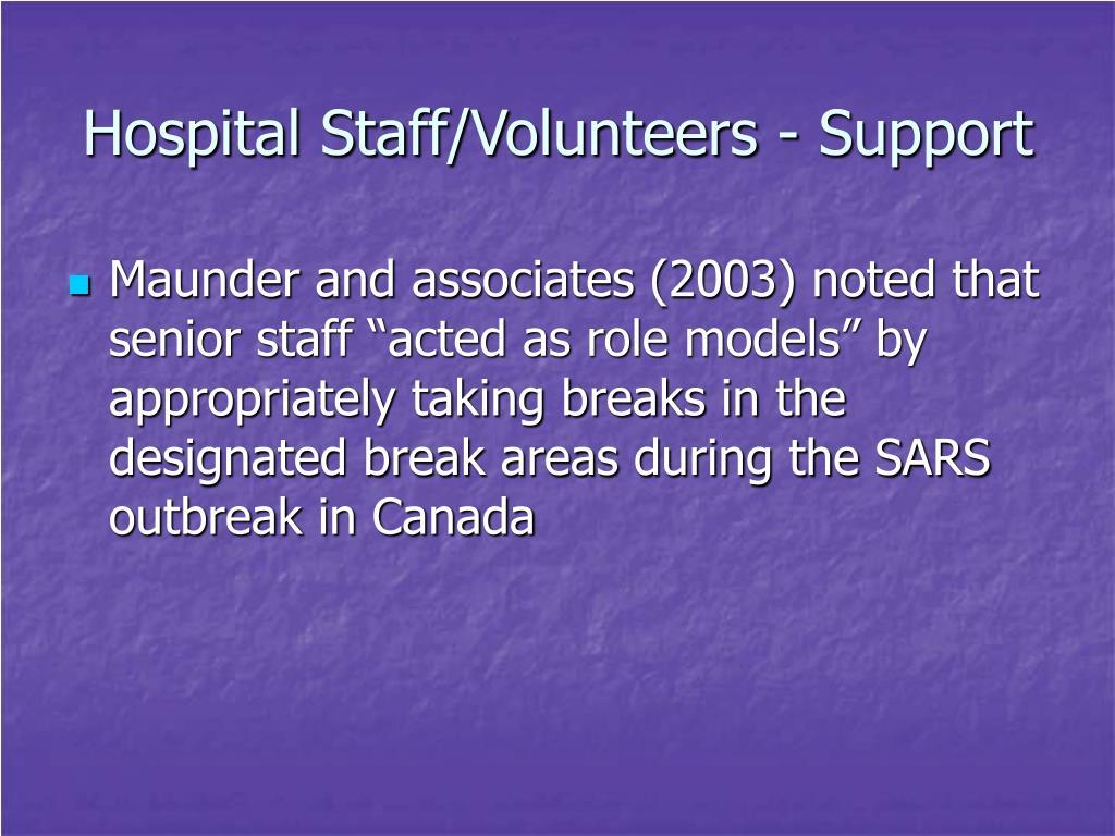 Hospital Staff/Volunteers - Support