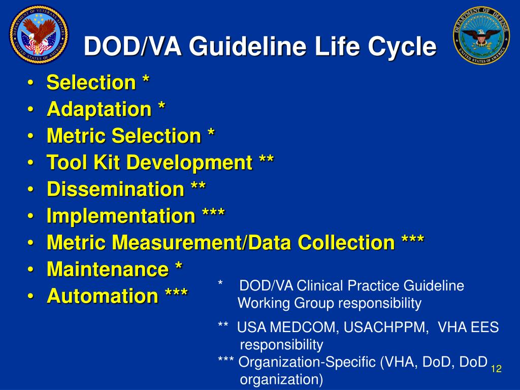 DOD/VA Guideline Life Cycle