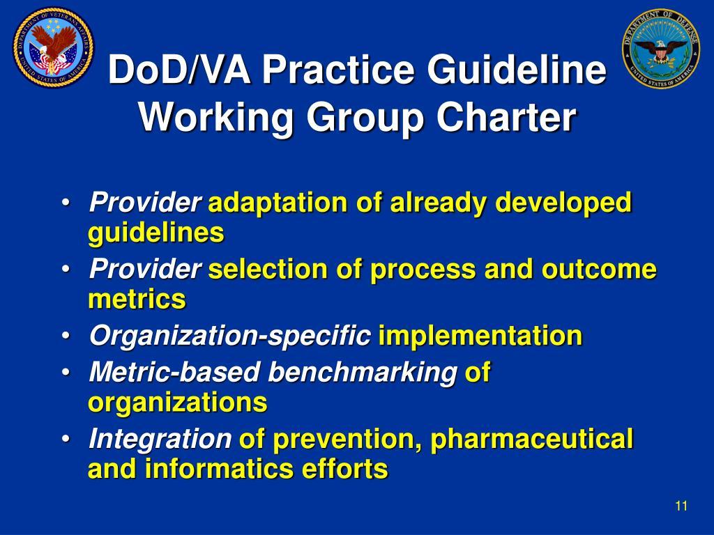DoD/VA Practice Guideline Working Group Charter