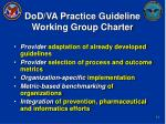 dod va practice guideline working group charter