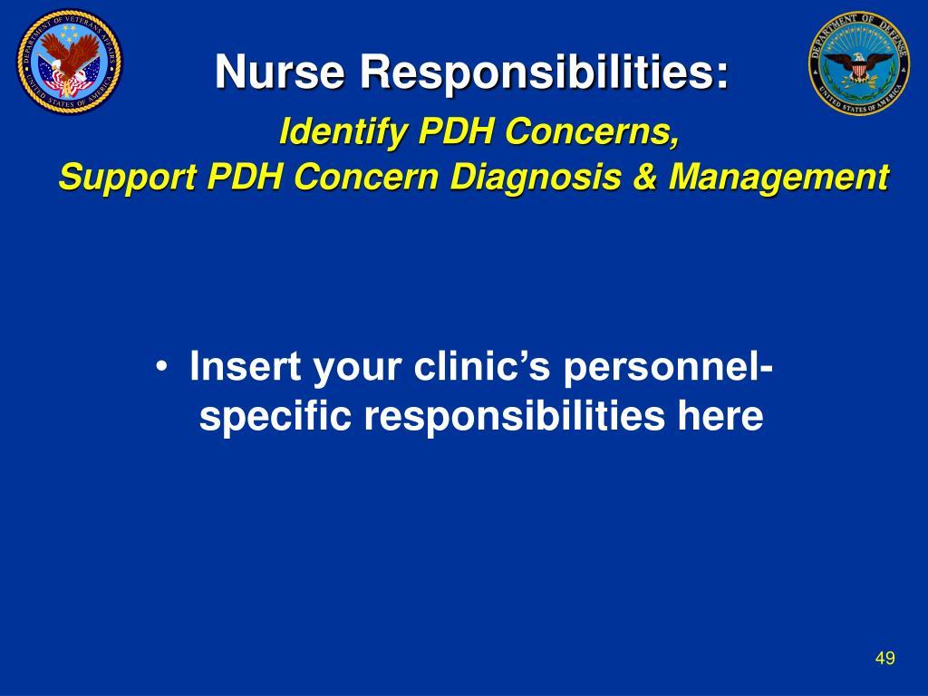 Nurse Responsibilities: