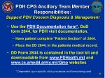 pdh cpg ancillary team member responsibilities support pdh concern diagnosis management