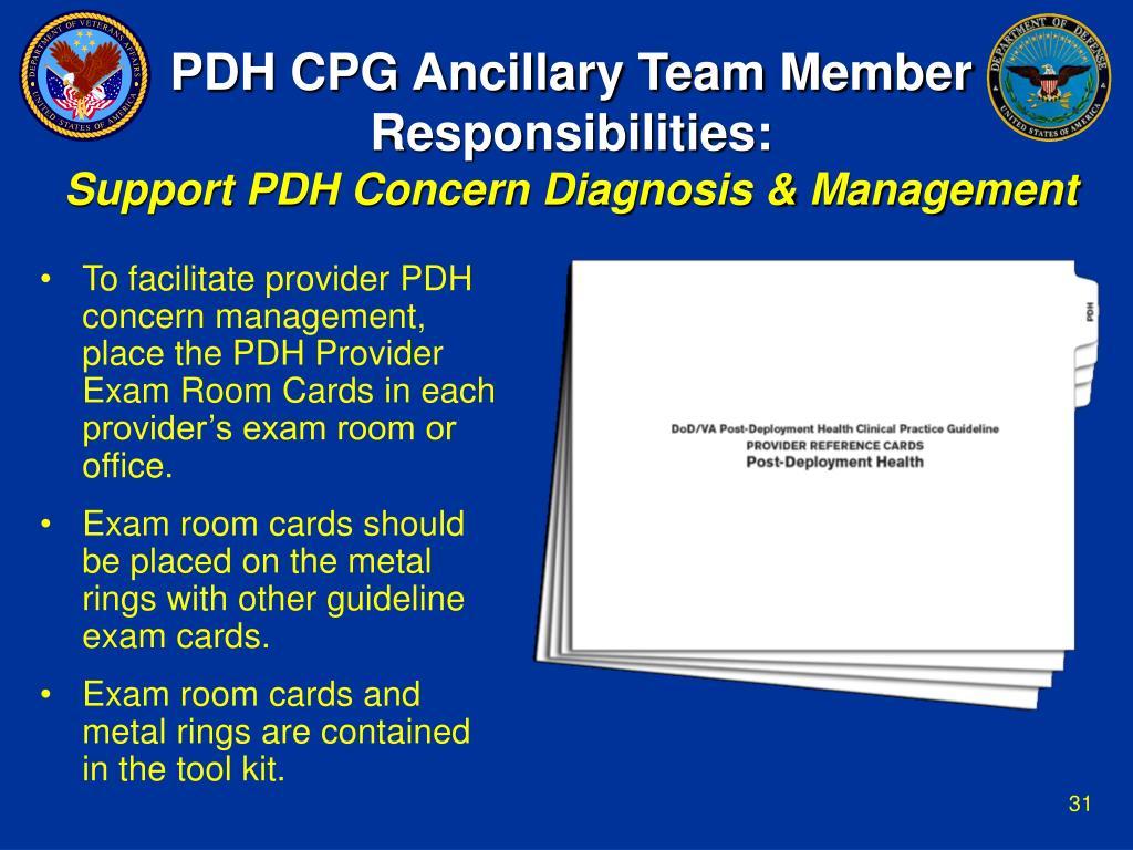 PDH CPG Ancillary Team Member Responsibilities: