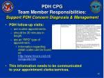 pdh cpg team member responsibilities support pdh concern diagnosis management