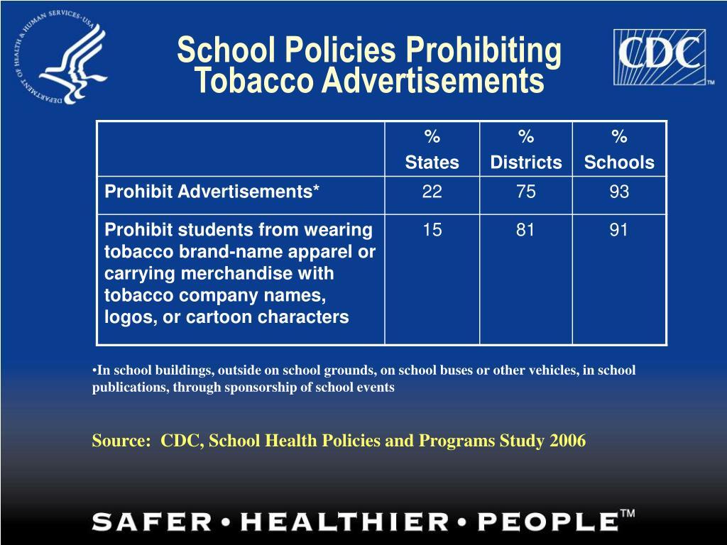 School Policies Prohibiting Tobacco Advertisements