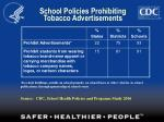 school policies prohibiting tobacco advertisements