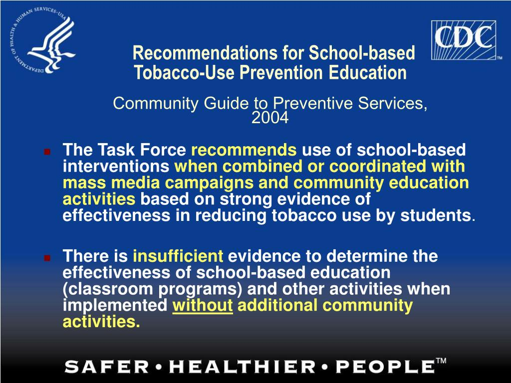 Recommendations for School-based Tobacco-Use Prevention