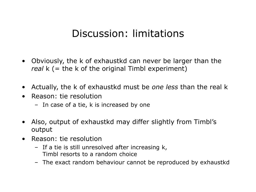 Discussion: limitations