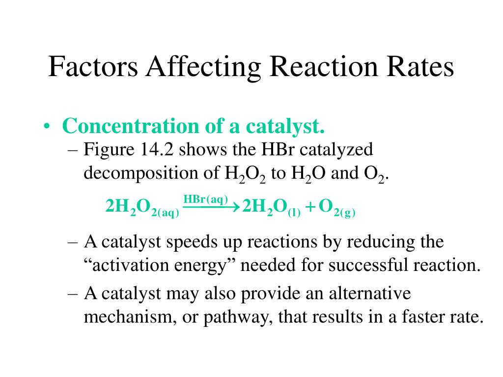 Figure 14.2 shows the HBr catalyzed decomposition of H