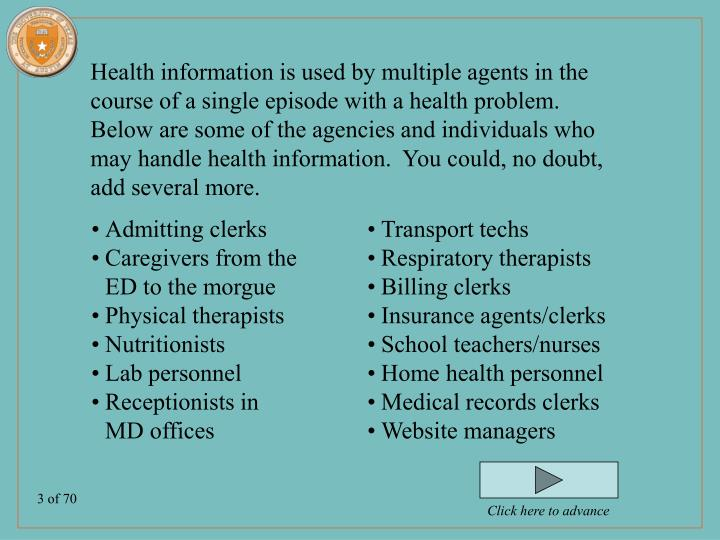 Health information is used by multiple agents in the course of a single episode with a health proble...