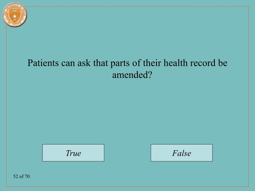 Patients can ask that parts of their health record be amended?