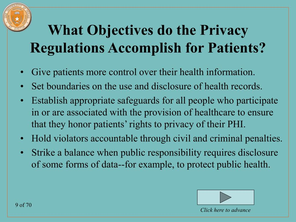 What Objectives do the Privacy Regulations Accomplish for Patients?