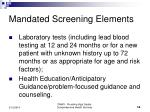 mandated screening elements14