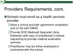 providers requirements cont