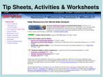 tip sheets activities worksheets