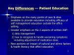 key differences patient education