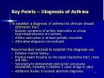 key points diagnosis of asthma