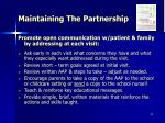 maintaining the partnership